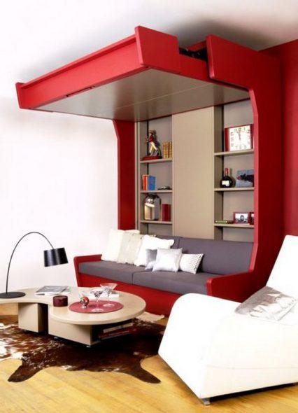 Подъемная кровать в гостиной