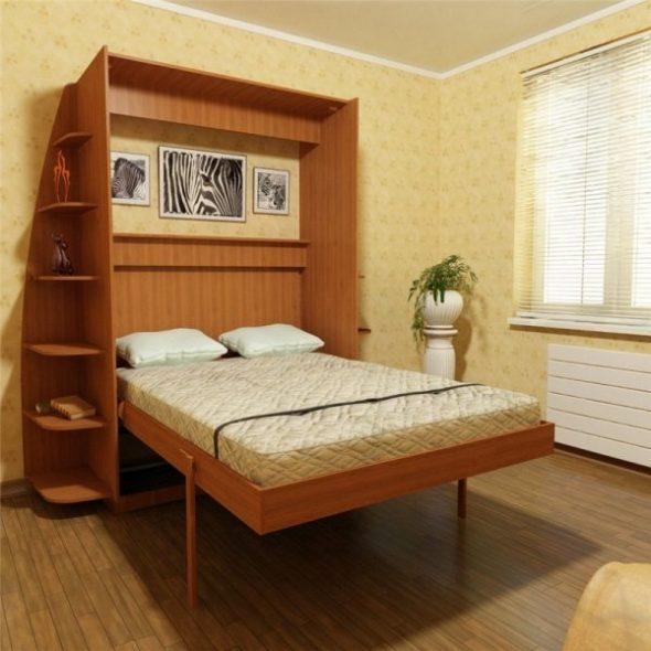 Двухспальная кровать в гостиной