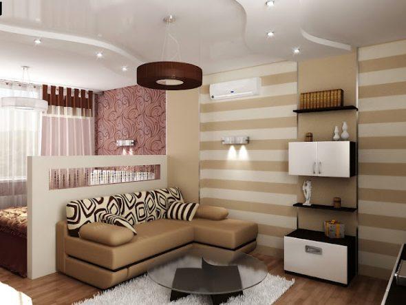 Гостиная-спальня с использованием разных обоев