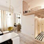 Кровать на 2 уровне квартиры в стиле модерн