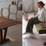 Обеденный стол, превращающийся в скамейку с полкой