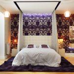 Оформление спальни в бело-сиреневых тонах