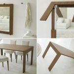 Оригинальное зеркало-стол в сложенном и разложенном виде