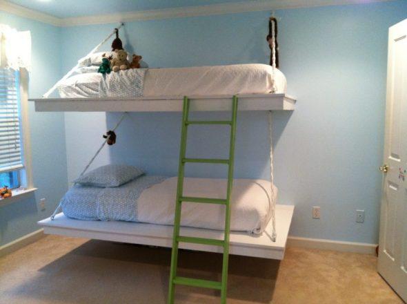 Подвесные кровати на веревках