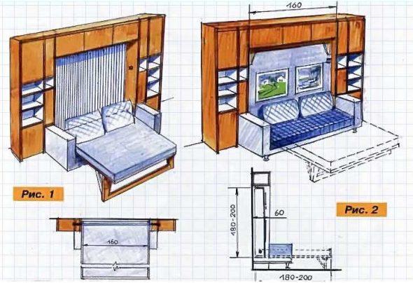 Схема шкафа-кровати