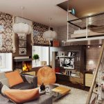 Современная гостиная с необычным оформлением