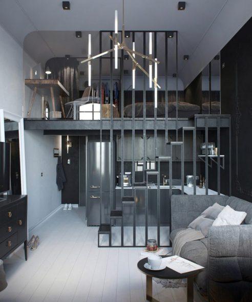 Кровать для комнаты в стиле лофт