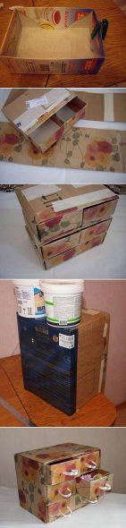 Аккуратный комод из картонных коробок