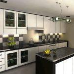 Бело-черная кухня с высокими навесными шкафами