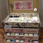 Картонный комод для швейных принадлежностей в красивом оформлении