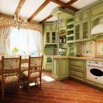 Красивая зеленая кухня с высокими шкафчиками-антресолями