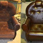 Кресло в коричневом цвете до и после обивки