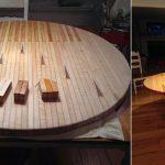 Круглый обеденный стол, из клеенной древесины