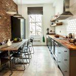 Кухня в стиле лофт без навесных элементов