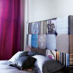 Мягкое изголовье кровати подушечками в стиле печворк