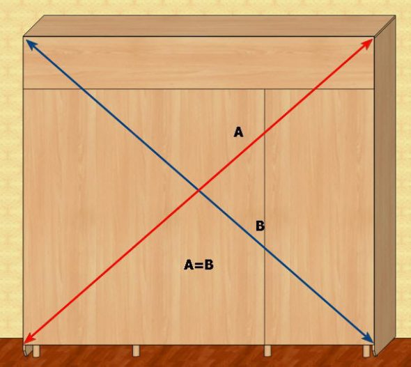 Проверка диагоналей шкафа