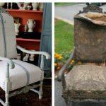 Шикарное кресло с фигурными ножками и ручками до и после рестарации