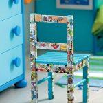 Стильный детский стул с наклейками из комиксов