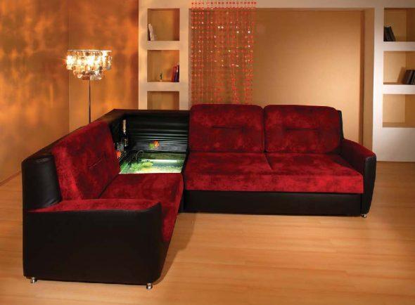 Красный угловой диван