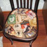 """Украшение сиденья стула """"Газетные вырезки"""""""