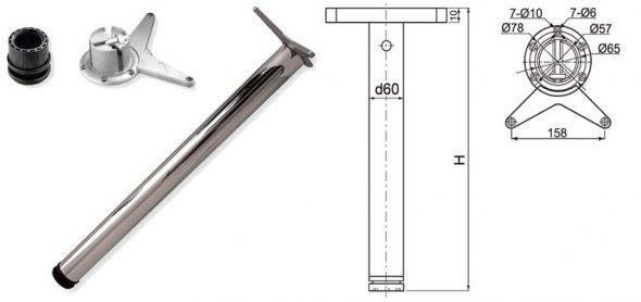 Ножка для стола хромированная