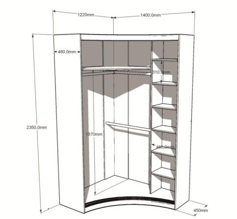Радиусный вогнутый шкаф