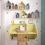 Полки-домики над столом в детской