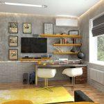 Стильные полочки над столом для комнаты в стиле хай-тек