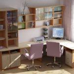 Угловой письменный стол с встроенным стеллажом и полками для книг