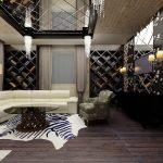 Зеркальный элементы на потолке и мебель в гостиной с ромбами
