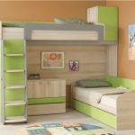 Двухъярусная кровать со встроенным комодом