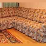 Гобеленовое покрывало с рюшами на угловой диван