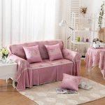 Маленький диван с чехлами и подушками, изготовленными своими руками