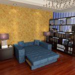 Раскладной синий диван собственного изготовлвения