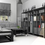 Строгий серо-черный диван и столик из подручных материалов