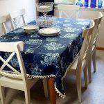 Темно-синяя повседневная скатерть на обеденном столе