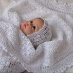 Вязанный плед из натурального хлопка для новорожденного