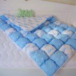 Детское одеяло в технике бонбон для кроватки мальчика