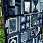 Джинсовое лоскутное покрывало с разными фрагментами