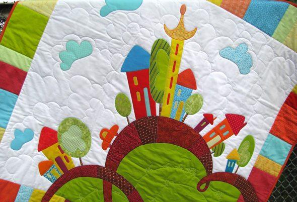 Детское лоскутное одеяло с рисунком