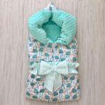 Одеяло-плед на молнии с мятными ежиками