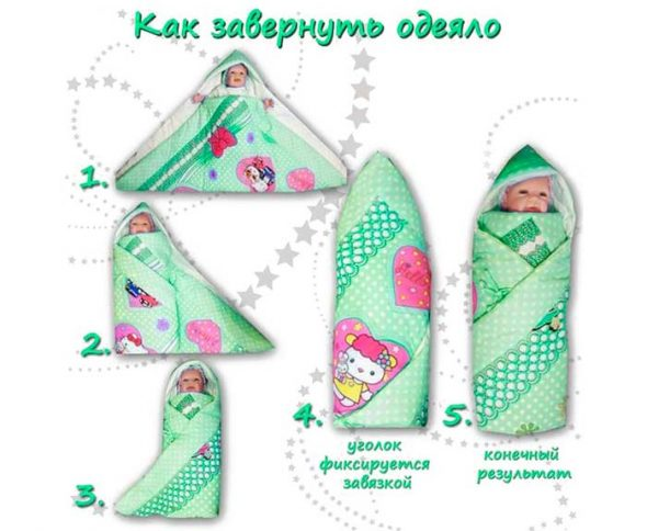 Пеленание в теплое одеяло