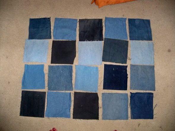 Разрезаем имеющиеся джинсы на квадраты