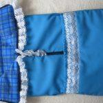 Синий самодельный конверт с рюшами