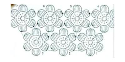 Схема безотрывного вязания цветов