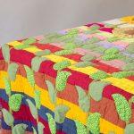 Стеганое лоскутное одеяло с листиками для украшения
