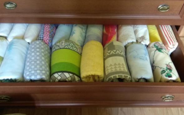 Вертикально сложенное постельное белье