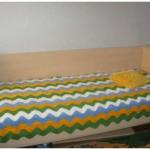 Волнистый плед на односпальную кровать своими руками