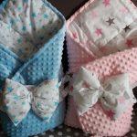 Розовый и голубой конверт-одеяло для выписки