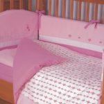 Розовый постельный комплект для девочки в кроватку